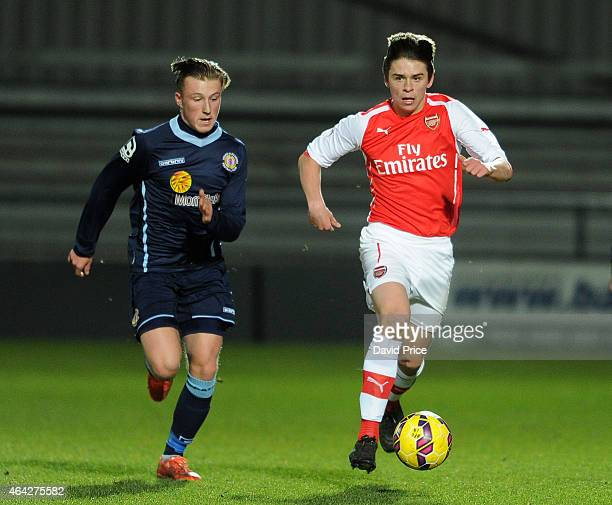 George Dobson of Arsenal takes on George Cooper of Crewe during the match between Arsenal U18 and Crewe Alexandra U18 in the FA Youth Cup 5th Round...