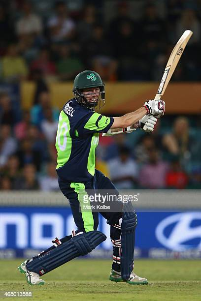 George Dockrell of Ireland bats during the 2015 ICC Cricket World Cup match between South Africa and Ireland at Manuka Oval on March 3 2015 in...