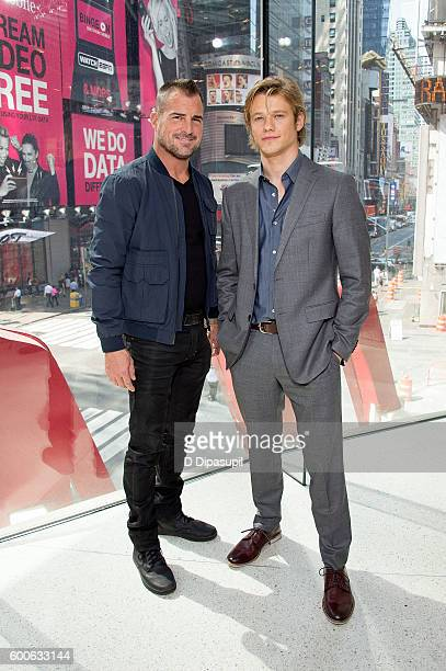 George Eads and Lucas Till visit 'Extra' at their New York studios at HM in Times Square on September 8 2016 in New York City