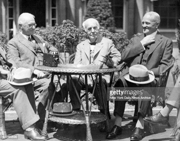 George Eastman with Thomas Edison and Gen John J Pershing after a demonstration of the the Eastman Kodak color moving picture process camera in...
