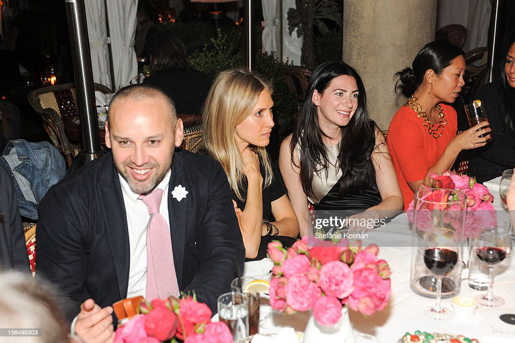 George Esquivel, Jessica de Ruiter and Rochelle Gores Fredston attend Juan Carlos Obando Jewelry Collection Launch Dinner at Chateau Marmont on November 15, 2012 in Los Angeles, California.