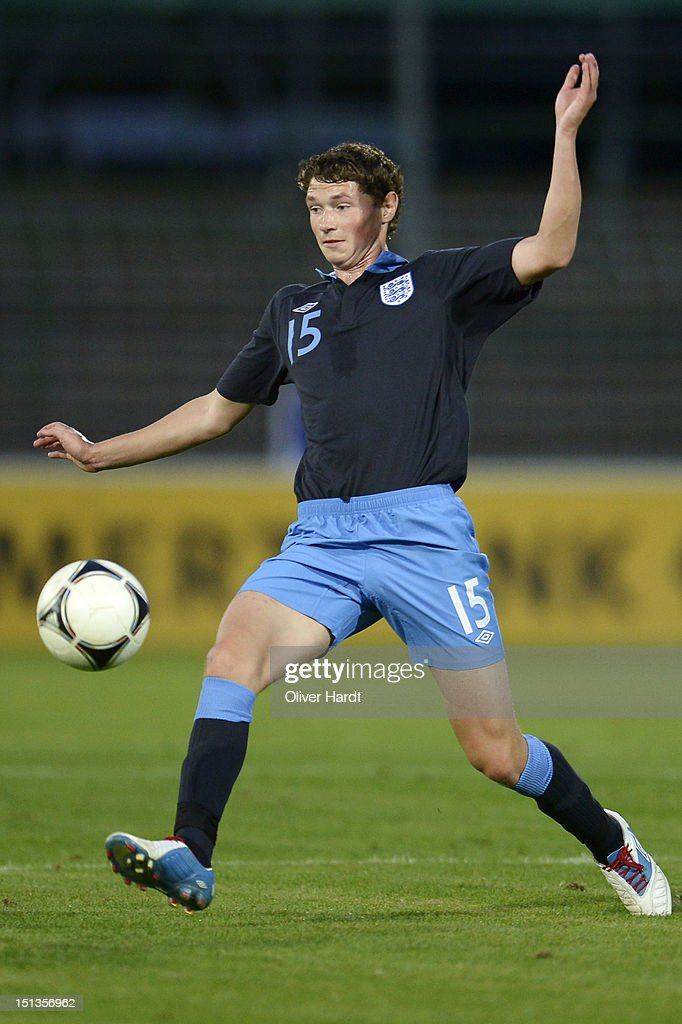George Evans of England battle for the ball during the Under 19 international friendly match between Germany and England at Stadion an der Lohmuehle on September 6, 2012 in Luebeck, Germany.