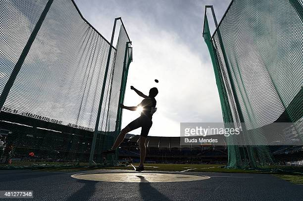 George Evans of Great Britain in action during the Boys Discus Throw Final on day four of the IAAF World Youth Championships Cali 2015 on July 18...