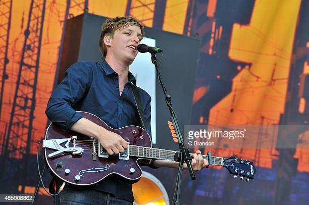 George Ezra performs on stage during Day 2 of the V Festival at Hylands Park on August 23 2015 in Chelmsford England
