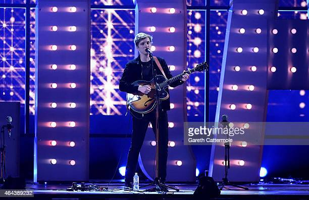 George Ezra performs on stage during the BRIT Awards 2015 at The O2 Arena on February 25 2015 in London England