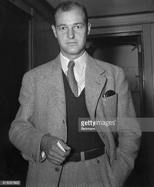 George F Kennan second secretary at the United States legation in Prague Czechoslovakia is pictured aboard the SS Washington just before he sailed...