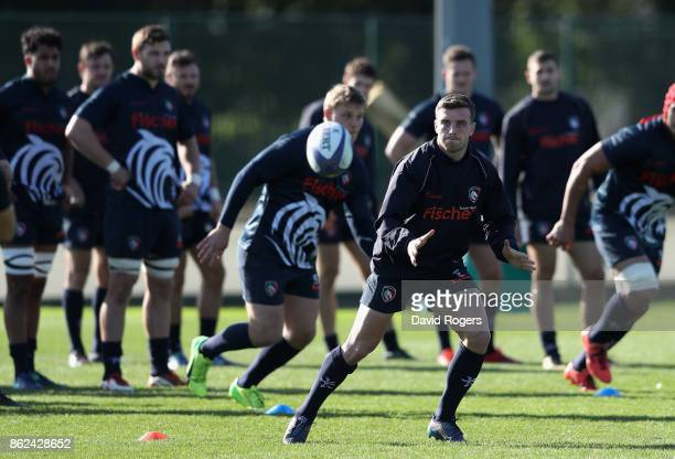 George Ford catches the ball during the Leicester Tigers training session held on October 17 2017 in Leicester England