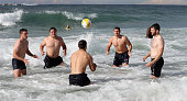 George Ford Jamie George Danny Care Alex Goode and Elliot Daly play a game of headers during the England recovery session held at Coogee Beach on...