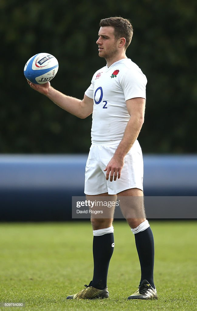 <a gi-track='captionPersonalityLinkClicked' href=/galleries/search?phrase=George+Ford+-+Rugby-Union-Spieler&family=editorial&specificpeople=11374128 ng-click='$event.stopPropagation()'>George Ford</a> looks on during the England training session held at Pennyhill Park on February 12, 2016 in Bagshot, England.