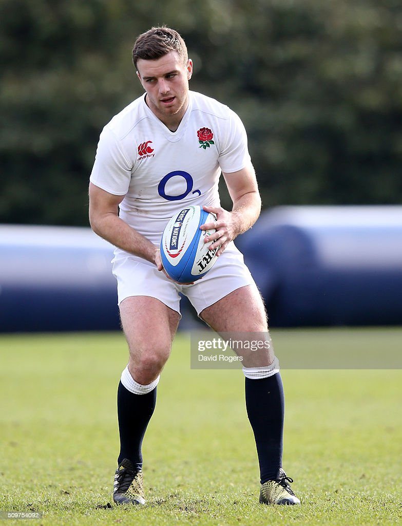 <a gi-track='captionPersonalityLinkClicked' href=/galleries/search?phrase=George+Ford+-+Rugby+Union+Player&family=editorial&specificpeople=11374128 ng-click='$event.stopPropagation()'>George Ford</a> looks on during the England training session held at Pennyhill Park on February 12, 2016 in Bagshot, England.