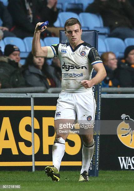 George Ford of Bath celebrates after kicking a last minute conversion of an Anthony Watson try to win the match during the European Rugby Champions...