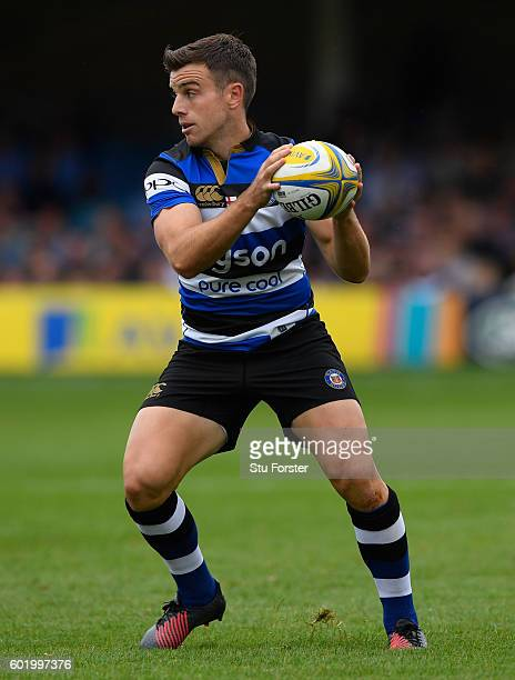 George Ford of Bath in action during the Aviva Premiership match between Bath Rugby and Newcastle Falcons at Recreation Ground on September 10 2016...