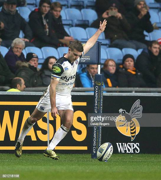 George Ford of Bath kicks a last minute conversion of an Anthony Watson try to win the match during the European Rugby Champions Cup match between...