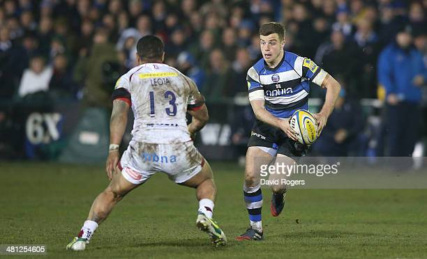 George Ford of Bath runs with the ball during the Aviva Premiership match between Bath and Sale Sharks at the Recreation Ground on March 28 2014 in...
