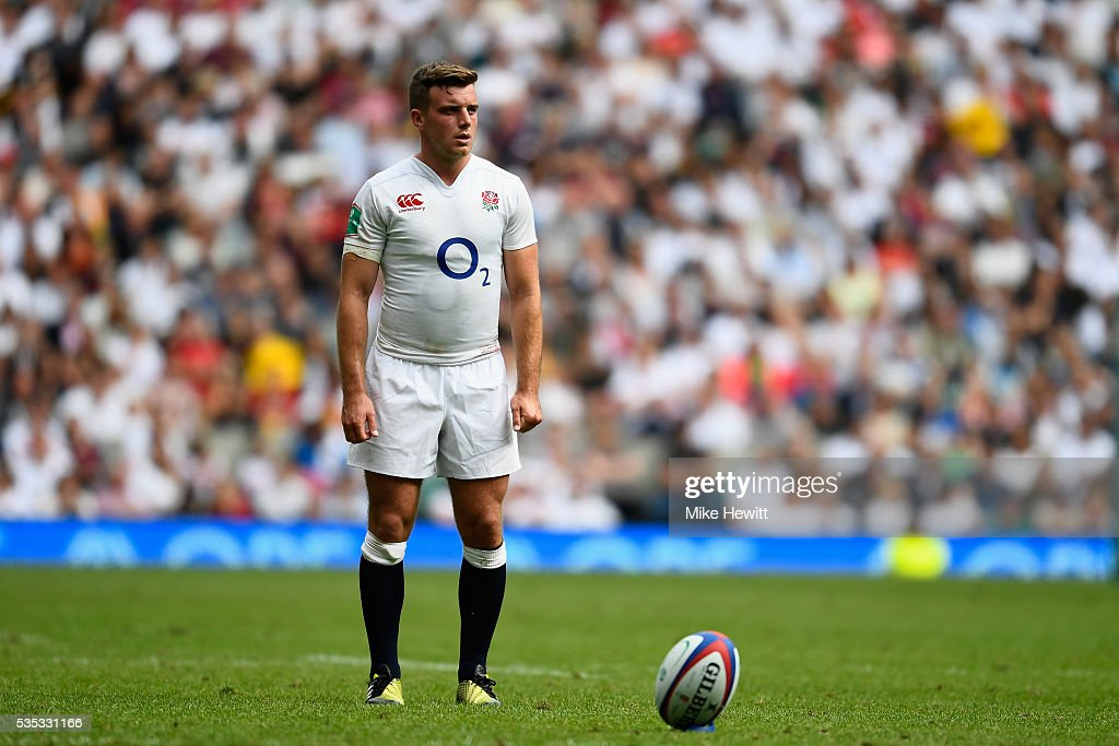 <a gi-track='captionPersonalityLinkClicked' href=/galleries/search?phrase=George+Ford+-+Rugby+Union+Player&family=editorial&specificpeople=11374128 ng-click='$event.stopPropagation()'>George Ford</a> of England attempts a kick at goal during the Old Mutual Wealth Cup between England and Wales at Twickenham Stadium on May 29, 2016 in London, England.
