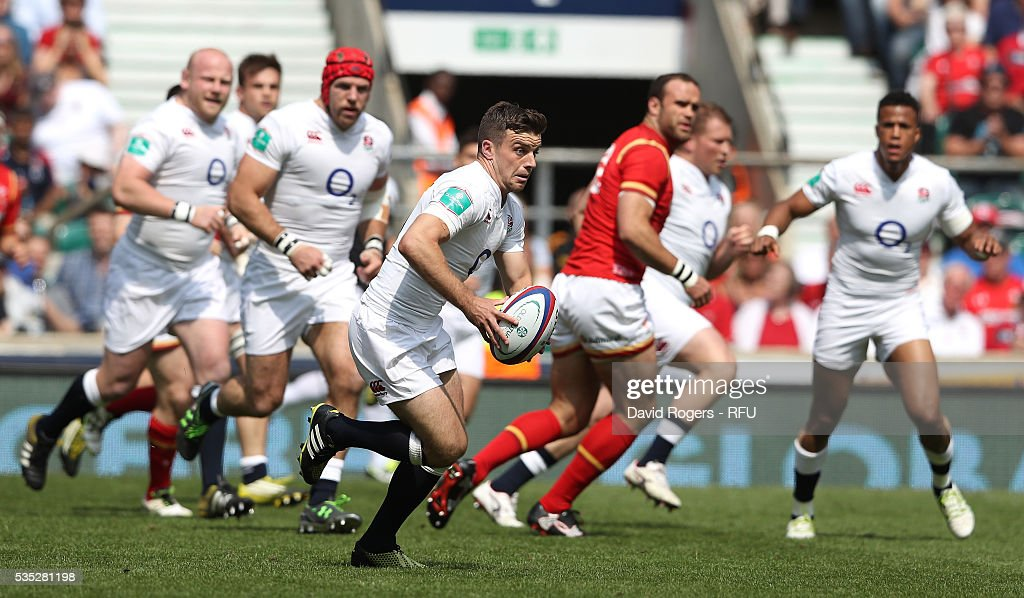 <a gi-track='captionPersonalityLinkClicked' href=/galleries/search?phrase=George+Ford+-+Rugby+Union+Player&family=editorial&specificpeople=11374128 ng-click='$event.stopPropagation()'>George Ford</a> of England breaks with the ball during the England v Wales International match at Twickenham Stadium on May 29, 2016 in London, England.