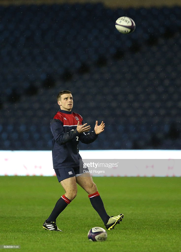 George Ford of England, catches the ball during a pre match visit to Murrayfield Stadium on February 5, 2016 in Edinburgh, Scotland.