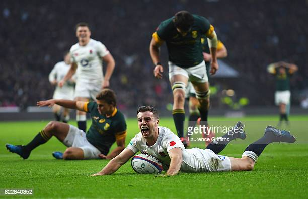 George Ford of England celebrates scoring his team's third try during the Old Mutual Wealth Series match between England and South Africa at...