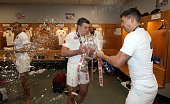 George Ford of England celebrates with team mate Ben Youngs during the RBS Six Nations match between France and England at the Stade de France on...