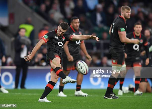 George Ford of England clears the ball during the Old Mutual Wealth Series match between England and Argentina at Twickenham Stadium on November 11...