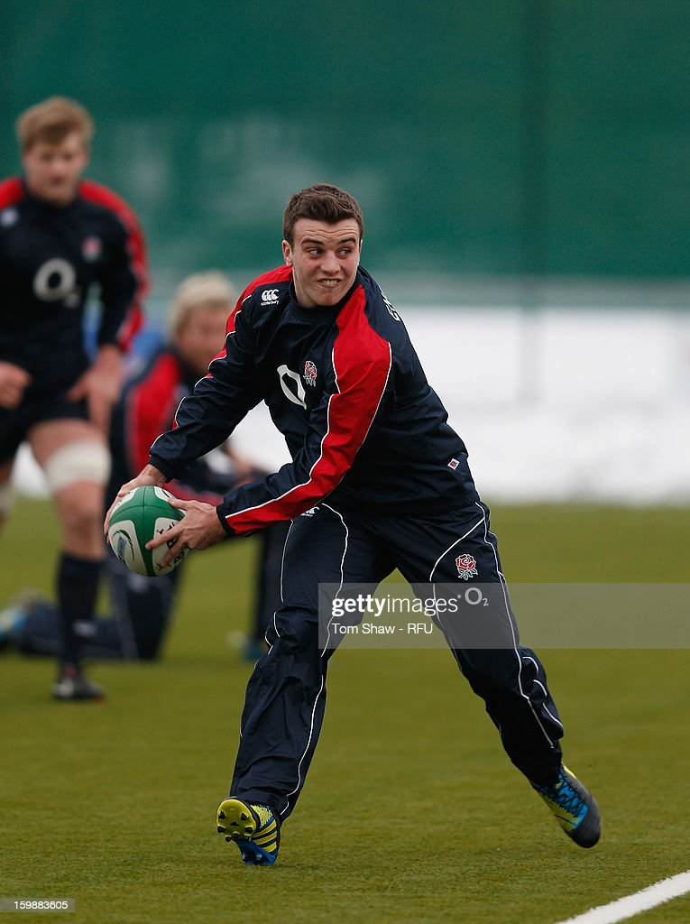 George Ford of England in action during the England Saxons training session at Maidenhead Rugby Ground on January 22, 2013 in Guildford, England.