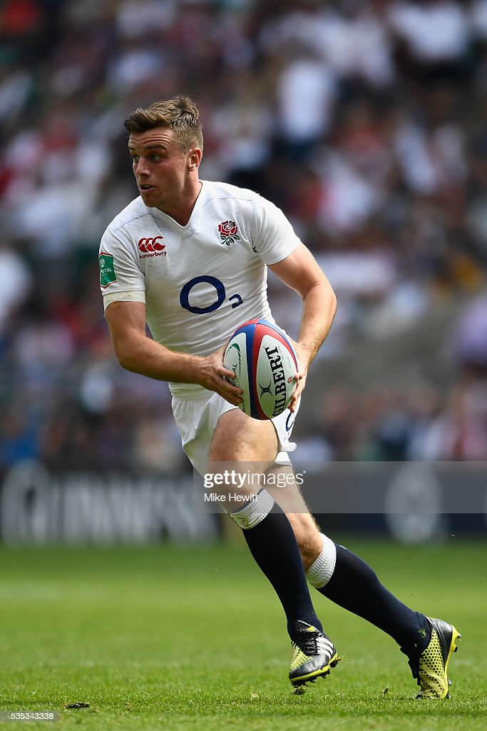 <a gi-track='captionPersonalityLinkClicked' href=/galleries/search?phrase=George+Ford+-+Rugbyer&family=editorial&specificpeople=11374128 ng-click='$event.stopPropagation()'>George Ford</a> of England in action during the Old Mutual Wealth Cup between England and Wales at Twickenham Stadium on May 29, 2016 in London, England.