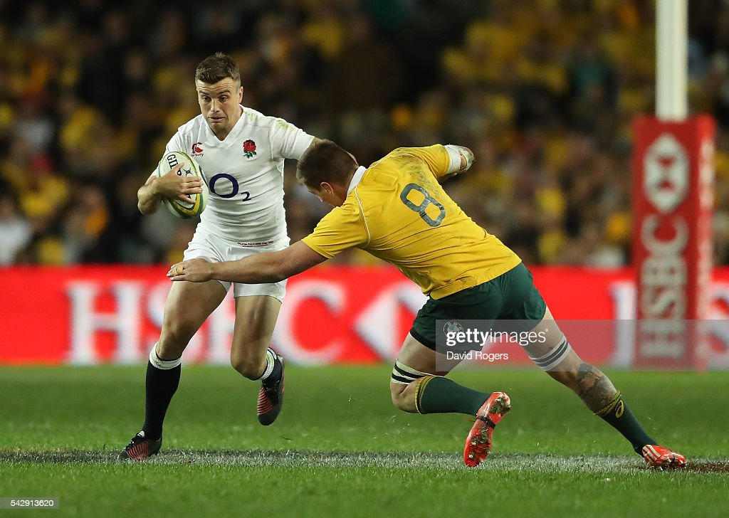 George Ford of England is <a gi-track='captionPersonalityLinkClicked' href=/galleries/search?phrase=Sean+McMahon+-+Rugby+Player&family=editorial&specificpeople=13709100 ng-click='$event.stopPropagation()'>Sean McMahon</a> during the International Test match between the Australian Wallabies and England at Allianz Stadium on June 25, 2016 in Sydney, Australia.