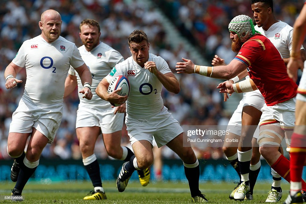 <a gi-track='captionPersonalityLinkClicked' href=/galleries/search?phrase=George+Ford+-+Rugbyspelare&family=editorial&specificpeople=11374128 ng-click='$event.stopPropagation()'>George Ford</a> of England makes a run during the Old Mutual Wealth Cup between England and Wales at Twickenham Stadium on May 29, 2016 in London, England.