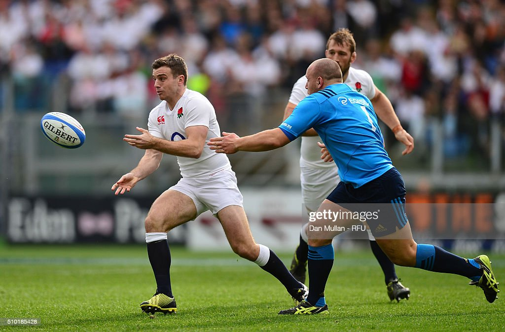 <a gi-track='captionPersonalityLinkClicked' href=/galleries/search?phrase=George+Ford+-+Rugby+Union+Player&family=editorial&specificpeople=11374128 ng-click='$event.stopPropagation()'>George Ford</a> of England passes the ball as Andrea Lovotti of Italy closes in during the RBS Six Nations match between Italy and England at the Stadio Olimpico on February 14, 2016 in Rome, Italy.