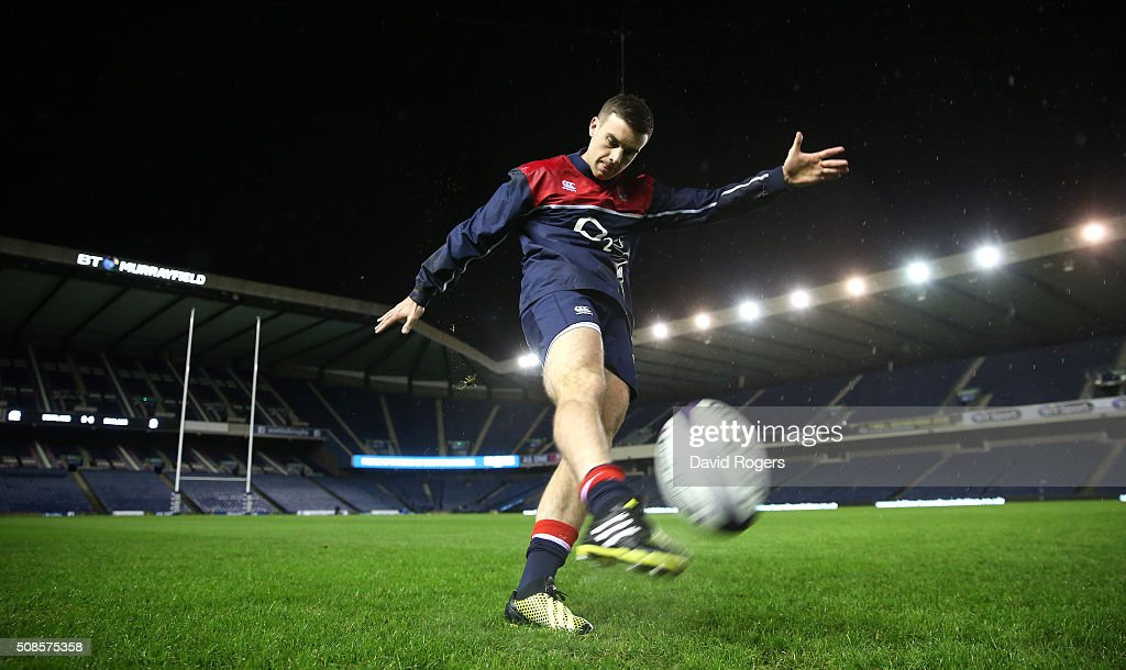George Ford of England, practices his kicking during a pre match visit to Murrayfield Stadium on February 5, 2016 in Edinburgh, Scotland.