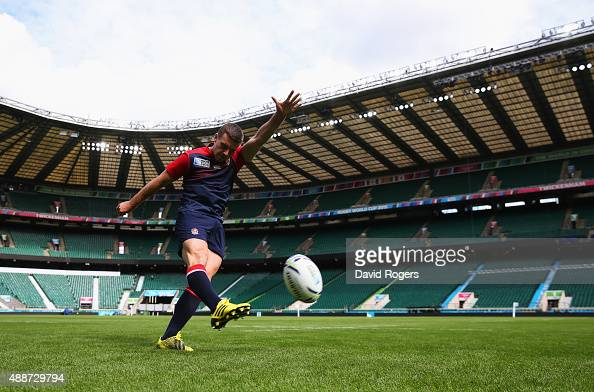 George Ford of England practices his kicking during the England Captain's Run on the eve of the opening Rugby World Cup 2015 match against Fiji at...