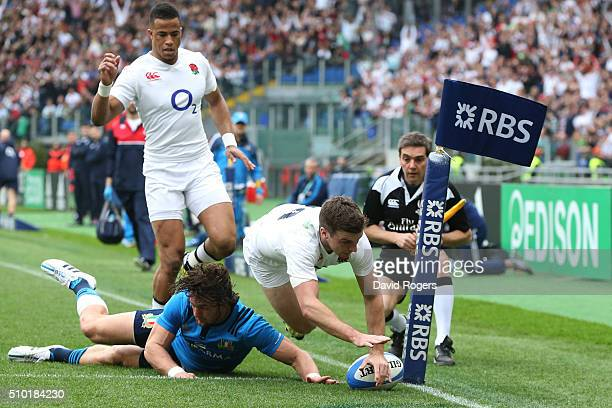 George Ford of England touches down to score the opening try during the RBS Six Nations match between Italy and England at the Stadio Olimpico on...
