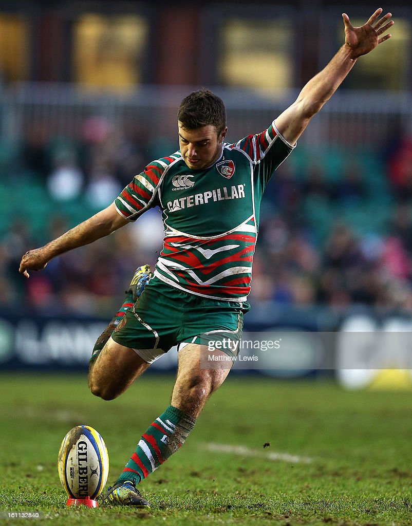 George Ford of Leicester kicks a conversation during the Aviva Premiership match between Leicester Tigers and London Welsh at Welford Road on February 9, 2013 in Leicester, England.
