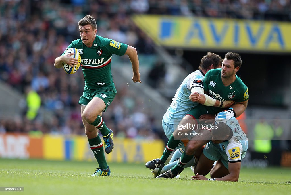 George Ford of Leicester Tigers makes a break during the Aviva Premiership Final between Leicester Tigers and Northampton Saints at Twickenham Stadium on May 25, 2013 in London, England.
