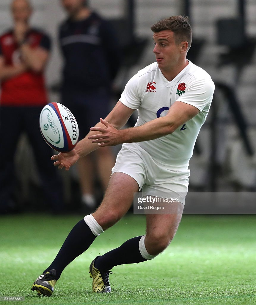 <a gi-track='captionPersonalityLinkClicked' href=/galleries/search?phrase=George+Ford+-+Rugby+Union+Player&family=editorial&specificpeople=11374128 ng-click='$event.stopPropagation()'>George Ford</a> passes the ball during the England training session held at Pennyhill Park on May 27, 2016 in Bagshot, England.