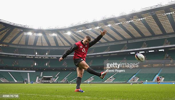 George Ford practices his kicking during the England captain's run at Twickenham Stadium on November 28 2014 in London England