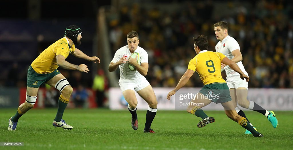George Fordl of England breaks with the ball during the International Test match between the Australian Wallabies and England at Allianz Stadium on June 25, 2016 in Sydney, Australia.
