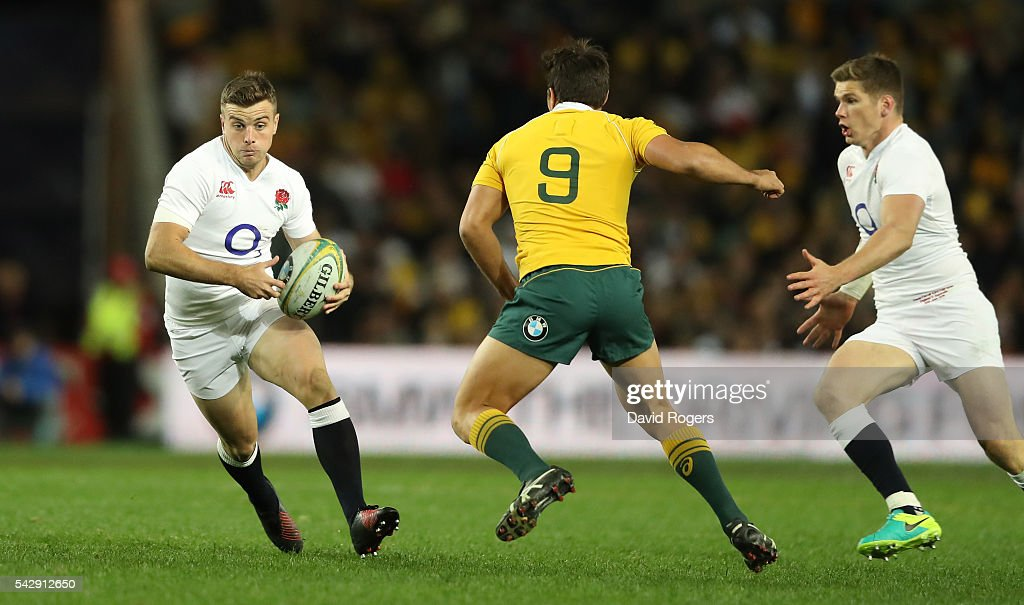 George Fordl of England breaks with the ball past Nick Phipps during the International Test match between the Australian Wallabies and England at Allianz Stadium on June 25, 2016 in Sydney, Australia.