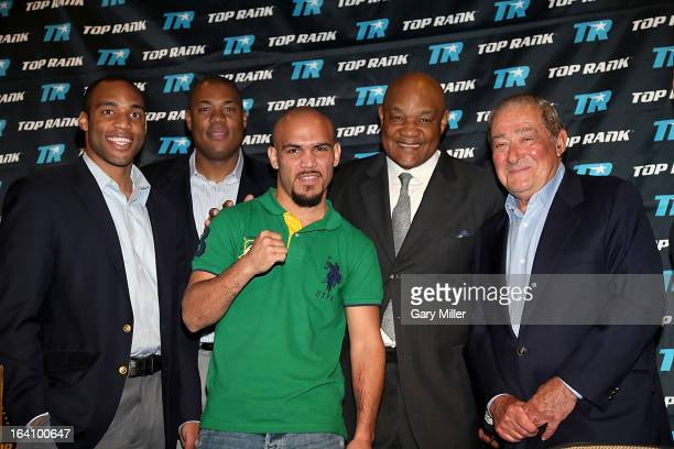 George Foreman IV George Foreman Jr Raymundo Beltran George Foreman and Bob Arum attend a news conference announcing the formation of Foreman Boys...