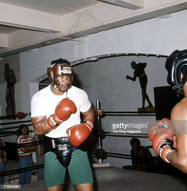 George Foreman spares in the ring as he trains in a Los Angeles gym