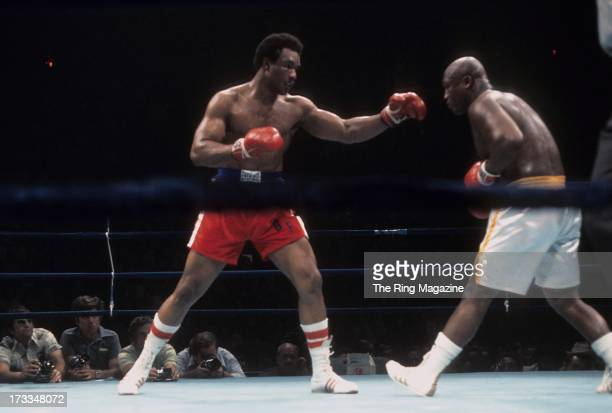 George Foreman throws a punch against Joe Frazier during the fight at Nassau Coliseum in Uniondale New York George Foreman won the NABF heavyweight...