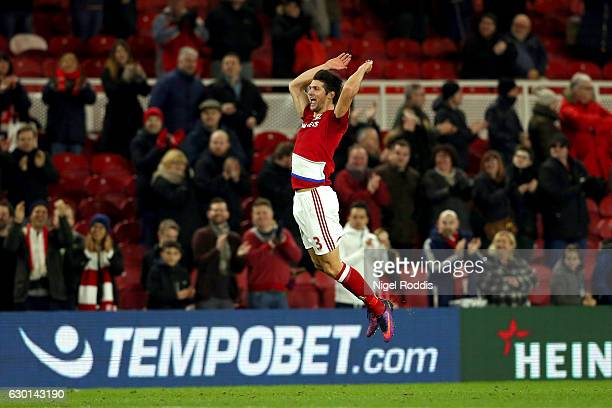 George Friend of Middlesbrough celebrates after the final whistle during the Premier League match between Middlesbrough and Swansea City at Riverside...