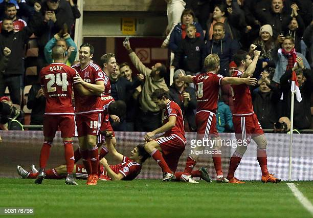 George Friend of Middlesbrough celebrates scoring with teamates during the Sky Bet Championship soccer match between Middlesbrough and Derby County...