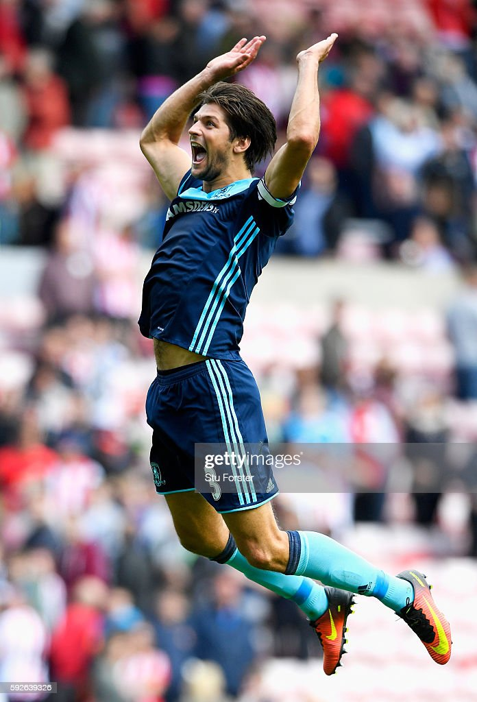 George Friend of Middlesbrough celebrates victory after the Premier League match between Sunderland and Middlesbrough at Stadium of Light on August 21, 2016 in Sunderland, England.