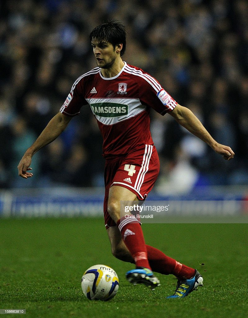 George Friend of Middlesbrough in action during the npower Championship match between Leeds United and Middlesbrough at Elland Road on December 22, 2012 in Leeds, England.