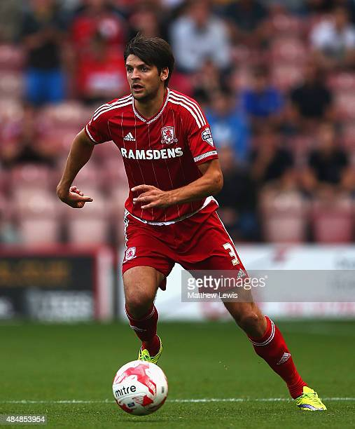 George Friend of Middlesbrough in action during the Sky Bet Championship match between Middlesbrough v Bristol City at Riverside Stadium on August 22...