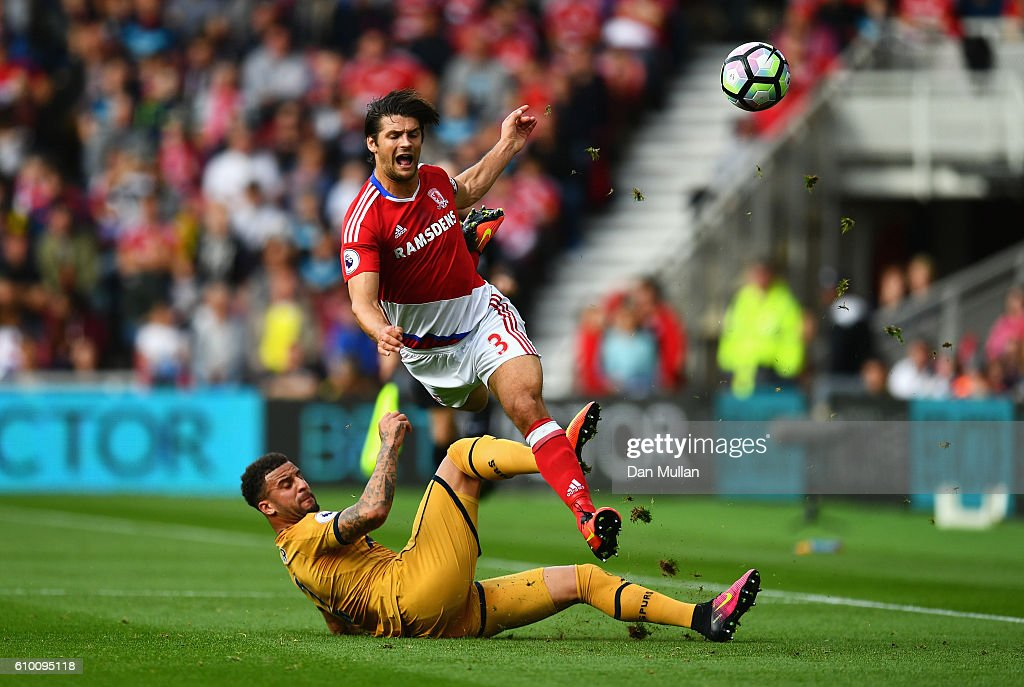 George Friend of Middlesbrough (R) is fouled by Kyle Walker of Tottenham Hotspur (L) during the Premier League match between Middlesbrough and Tottenham Hotspur at the Riverside Stadium on September 24, 2016 in Middlesbrough, England.