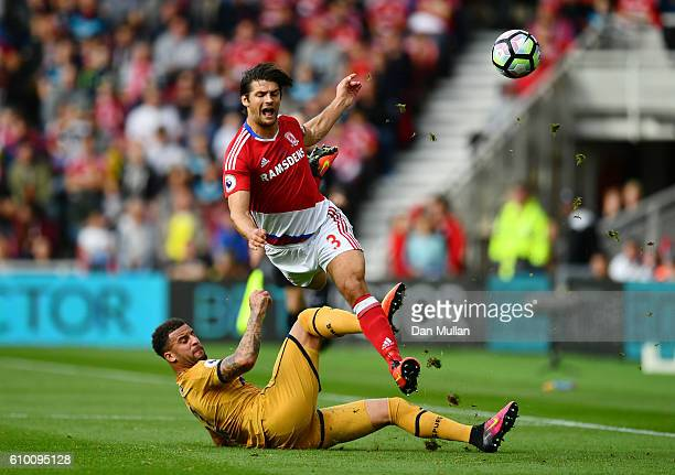 George Friend of Middlesbrough is fouled by Kyle Walker of Tottenham Hotspur during the Premier League match between Middlesbrough and Tottenham...