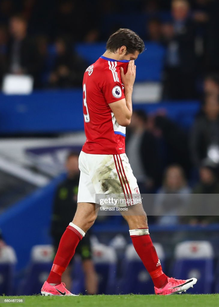 George Friend of Middlesbrough leaves the pitch looking dejected during the Premier League match between Chelsea and Middlesbrough at Stamford Bridge on May 8, 2017 in London, England.