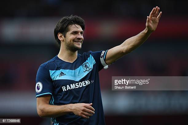 George Friend of Middlesbrough shows the appreciation to the fans after the final whistle during the Premier League match between Arsenal and...